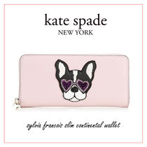 kate spade new york sylvia Plain Other Animal Patterns Leather Long Wallets