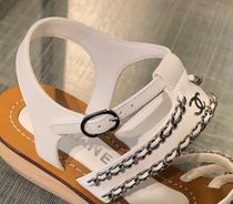 CHANEL Open Toe Chain Plain Leather Party Style Elegant Style Logo