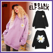 ELF SACK Flower Patterns Street Style Long Sleeves Medium Oversized