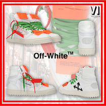 Off-White OFF COURT Round Toe Rubber Sole Casual Style Leather Logo