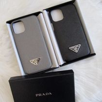 PRADA Plain Leather Logo iPhone 11 Pro Smart Phone Cases