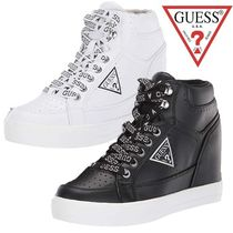 Guess Wedge Platform Round Toe Lace-up Casual Style Street Style