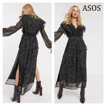 ASOS Chiffon Flared V-Neck Long Sleeves Long Party Style