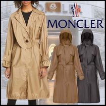 MONCLER Casual Style Nylon Plain Long Trench Coats