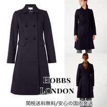 Hobbs London Casual Style Wool Plain Long Office Style Peacoats