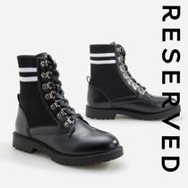 RESERVED Platform Round Toe Rubber Sole Lace-up Casual Style Faux Fur