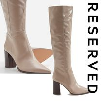 RESERVED Casual Style Faux Fur Plain Block Heels Elegant Style