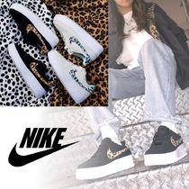 Nike AIR FORCE 1 Leopard Patterns Platform Casual Style Unisex Suede