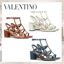 VALENTINO Casual Style Studded Plain Leather Block Heels Party Style