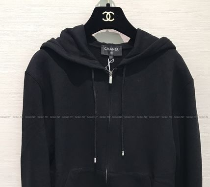 CHANEL Unisex Bi-color Long Sleeves Logo Hoodies & Sweatshirts
