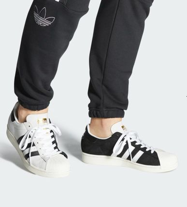Unisex Street Style Bi-color Leather Sneakers