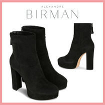Alexandre Birman Round Toe Casual Style Suede Plain Block Heels Party Style