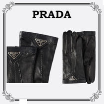 PRADA Plain Leather Logo Leather & Faux Leather Gloves