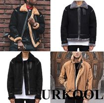 URKOOL Short Suede Blended Fabrics Street Style Plain Leather