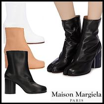Maison Margiela Tabi Plain Leather Elegant Style High Heel Boots