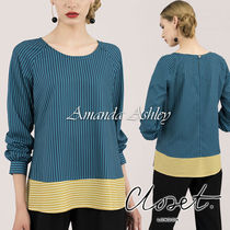 closet Stripes Casual Style Bi-color Long Sleeves Elegant Style