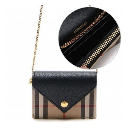 Other Plaid Patterns Chain Wallet Logo Card Holders