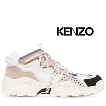 KENZO Suede Blended Fabrics Plain Leather Sneakers