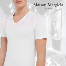 Maison Margiela Unisex V-Neck Cotton Short Sleeves V-Neck T-Shirts