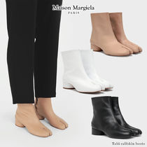 Maison Margiela Tabi Round Toe Casual Style Unisex Blended Fabrics Plain Leather