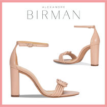Alexandre Birman Open Toe Casual Style Suede Leather Block Heels Party Style