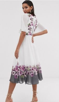 Flower Patterns Casual Style Sleeveless Flared Long Sleeves