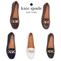 kate spade new york Round Toe Rubber Sole Suede Plain Leather Logo