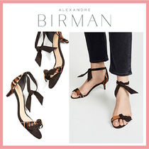 Alexandre Birman Open Toe Casual Style Fur Leather Pin Heels Party Style