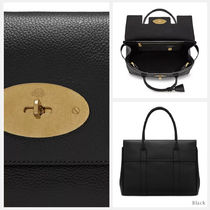 Mulberry Bayswater Casual Style Blended Fabrics A4 Plain Leather Office Style