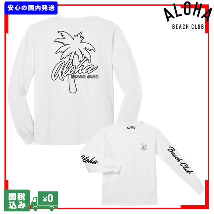 ALOHA BEACH CLUB Long Sleeve Crew Neck Unisex Street Style Long Sleeves Cotton