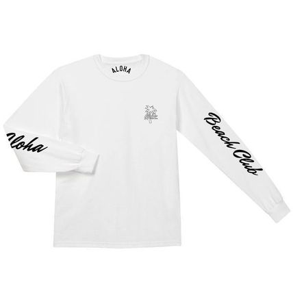 ALOHA BEACH CLUB Long Sleeve Crew Neck Unisex Street Style Long Sleeves Cotton 3
