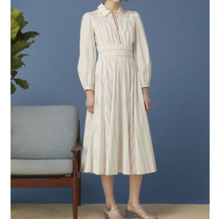 A-line Dolman Sleeves Flared Long Sleeves Plain Cotton