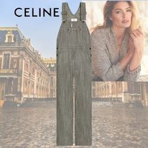 CELINE Dungarees Stripes Casual Style Sleeveless Cotton Long