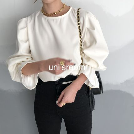 Shirts & Blouses Casual Style Puffed Sleeves Long Sleeves Plain Medium 2