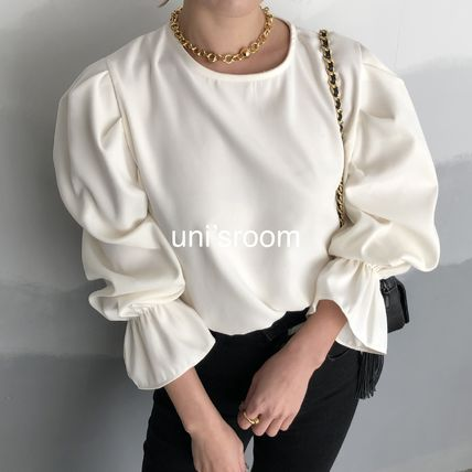 Shirts & Blouses Casual Style Puffed Sleeves Long Sleeves Plain Medium