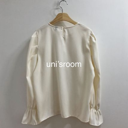 Shirts & Blouses Casual Style Puffed Sleeves Long Sleeves Plain Medium 11