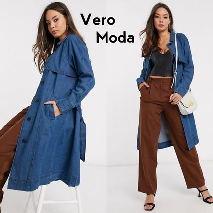 Casual Style Street Style Plain Long Trench Coats