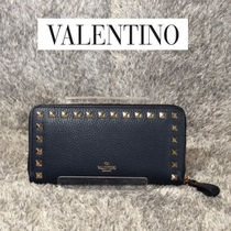 VALENTINO Studded Plain Leather Long Wallet  Logo Long Wallets