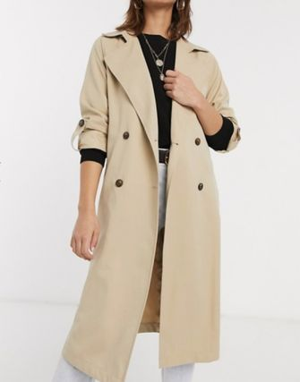 Casual Style Plain Office Style Elegant Style Trench Coats