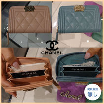 CHANEL BOY CHANEL Calfskin Plain Leather Coin Cases