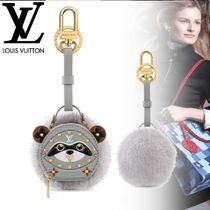 Louis Vuitton Fur Blended Fabrics Leather Logo Keychains & Bag Charms