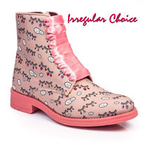 Irregular Choice Round Toe Lace-up Casual Style Leather Block Heels