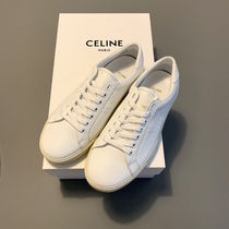 CELINE Triomphe Leather Logo Low-Top Sneakers
