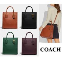 Coach Casual Style 2WAY Plain Leather Totes