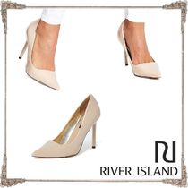 River Island Faux Fur Pin Heels Pointed Toe Pumps & Mules