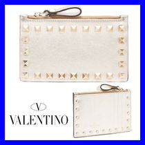 VALENTINO Leather Small Wallet Logo Coin Cases