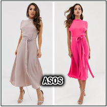 ASOS Maxi Flared Plain Medium High-Neck Midi Dresses