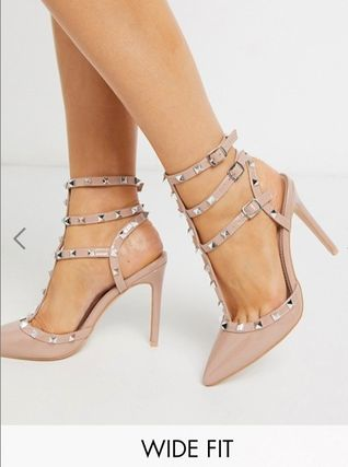 Casual Style Enamel Studded Plain Pin Heels Party Style