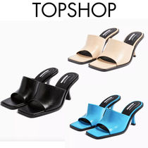TOPSHOP Square Toe Rubber Sole Plain Leather Party Style