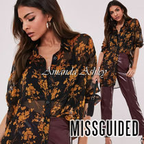 Missguided Flower Patterns Casual Style Long Sleeves Long Party Style